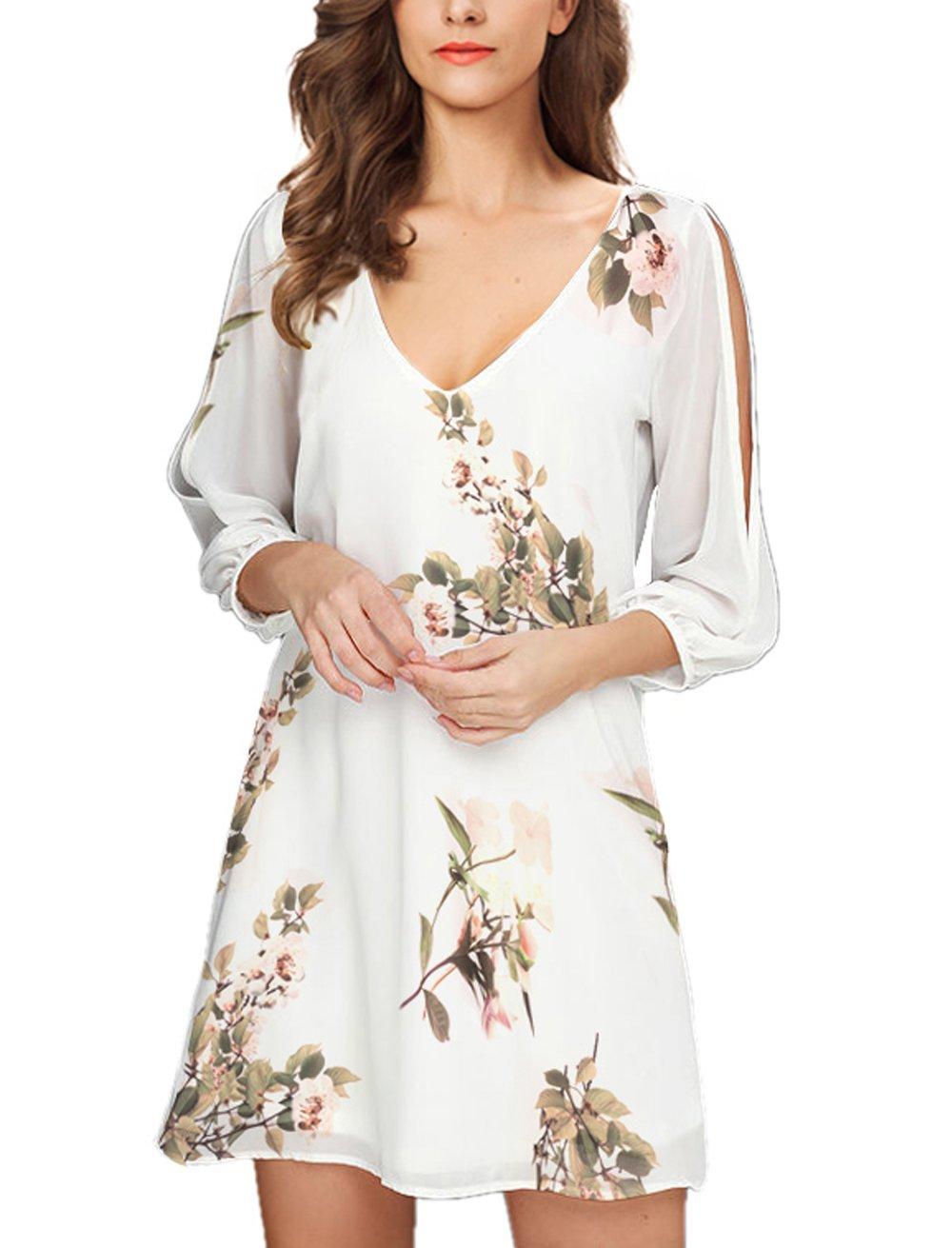 Noctflos Women's Summer V-Neck Floral Printed Cold Shoulder Loose Short Dress