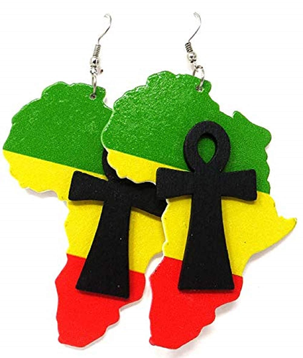 Amazon.com: African map Rasta Ankh Wooden Earrings   Ancient