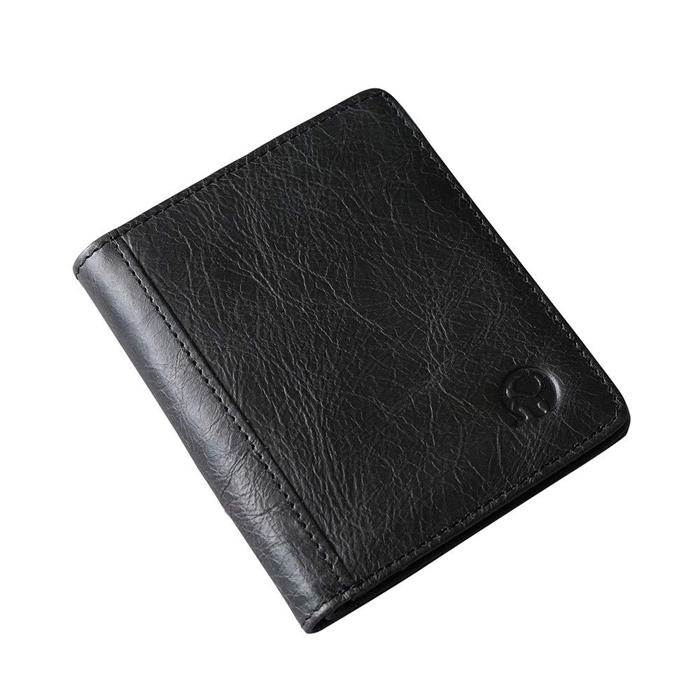 TIANRUN Fashion Mens Leather Wallet Credit//ID Card Holder Slim Coin Purse Pocket Gifts Black