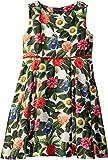 Oscar de la Renta Childrenswear Baby Girl's Mikado Flower Jungle Button Dress With Pleats (Toddler/Little Kids/Big Kids) Spring Green 10