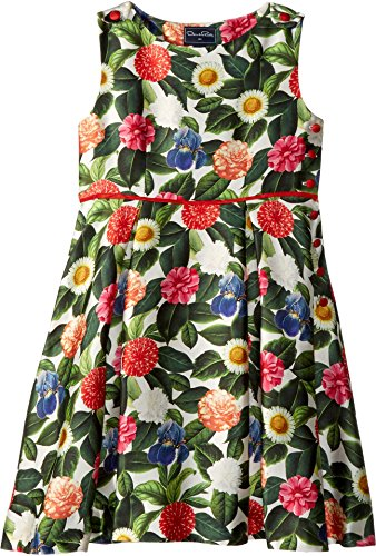 OSCAR DE LA RENTA Childrenswear Baby Girl's Mikado Flower Jungle Button Dress With Pleats (Toddler/Little Kids/Big Kids) Spring Green 3 ()