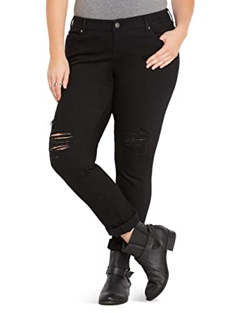 c522329941d Amazon.com  Torrid Boyfriend Jeans - Black Wash with Ripped Destruction   Clothing
