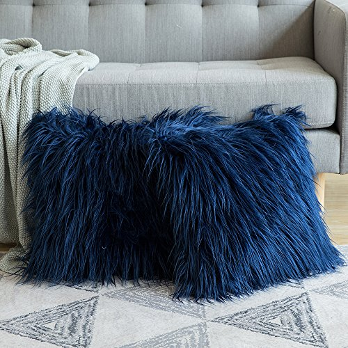 MIULEE Pack of 2 Decorative New Luxury Series Style Dark Blue Faux Fur Throw Pillow Case Cushion Cover for Sofa Bedroom Car 18 x 18 Inch 45 x 45 Cm