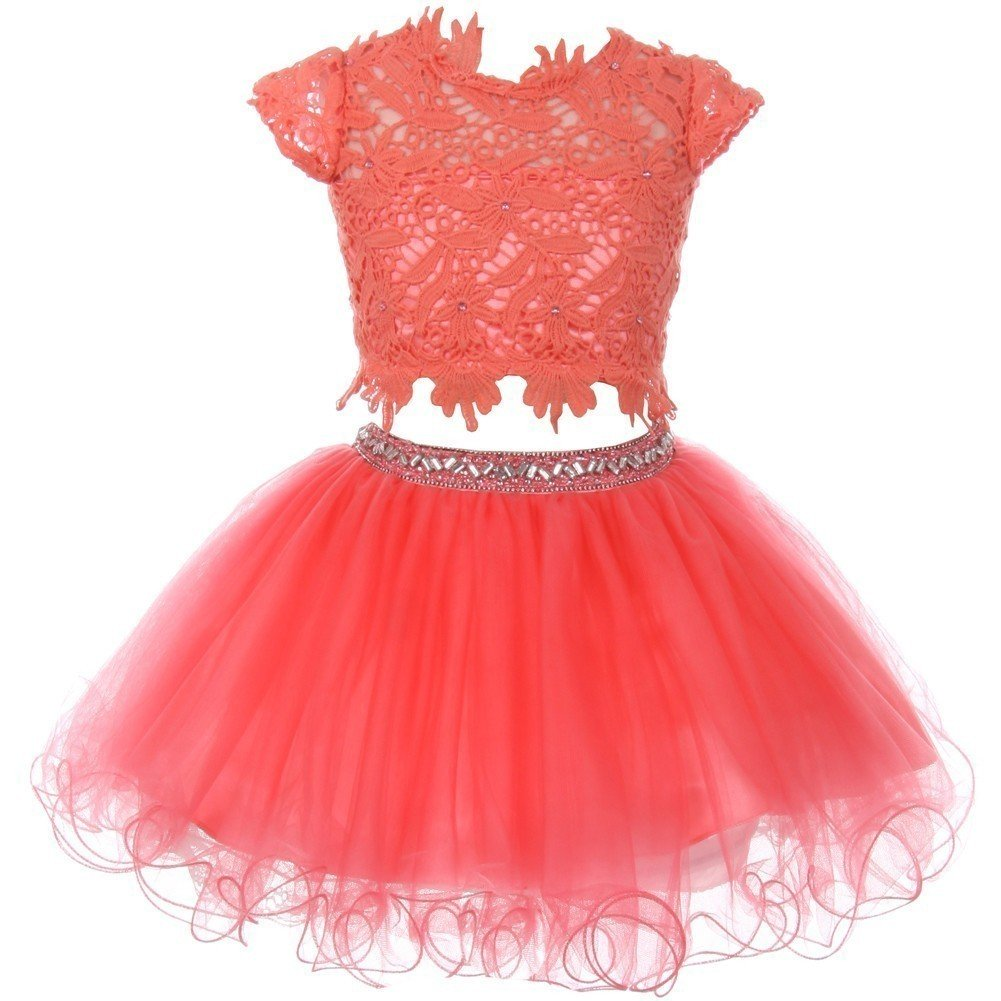 Cinderella Couture Big Girls Coral Lace Top Tulle Rhinestone 2 Pc Skirt Outfit 16