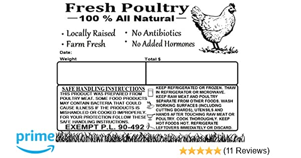 Amazon Poultry Freezer Labels 4 X 3 With Safe Handling