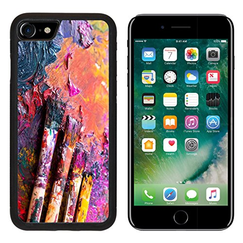 MSD Premium Apple iPhone 7 iPhone7 Aluminum Backplate Bumper Snap Case paint brushes on a palette IMAGE 34387760