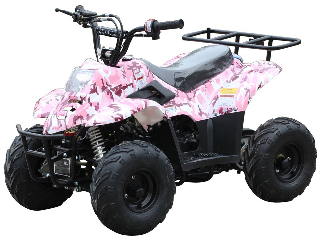 110cc ATV Four Wheelers Fully Automatic 4 Stroke Engine 6 Inch Tires Quads for Kids Pink Camo