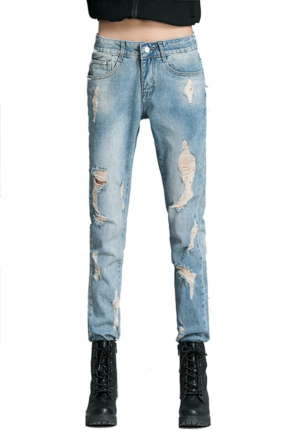 Chickle Women's Casual Mid-Rise Ripped Skinny Denim Jeans