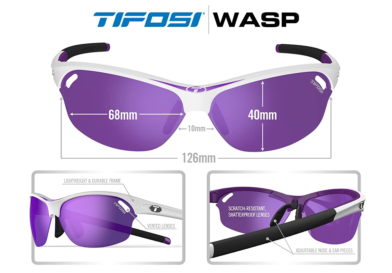 0d115dac87 Amazon.com  Tifosi Wasp Wrap Sunglasses Crystal Clear 140 mm  Clothing