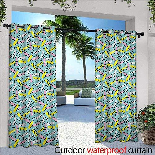 Geometric Patio Curtains Italian Style Trippy Memphis Bands Postmodern Kitsch Futuristic Abstract Theme Outdoor Curtain for Patio,Outdoor Patio Curtains W72 x L108 Multicolor