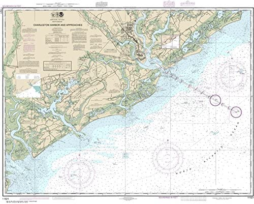 """MapHouse NOAA Chart 11521 Charleston Harbor and Approaches: 34.6"""" X 43.19"""" Paper Chart"""