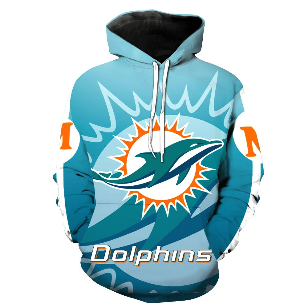 JJCat Mens Long Sleeve Hooded 3D Print Miami Dolphin Football Team Pullover Hoodies