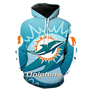Mens Long Sleeve Hooded 3D Print Miami Dolphin Football Team Pullover Hoodies(S,Blue