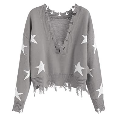 6c74846fac7 ZAFUL Women's Solid V Neck Loose Sweater Long Sleeve Ripped Jumper Pullover  Knitted Crop Top (