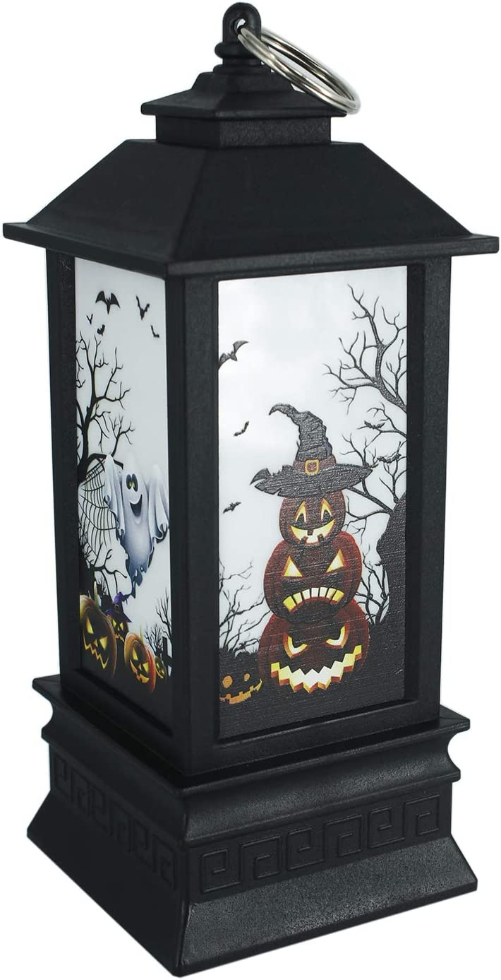Halloween Pumpkin Lantern 7.5x3.1 inchi Warm White with Candle Flashing Modes Ghost Jack-O-Lantern Pumpkin Lights for Party Decorations - Battery Operated