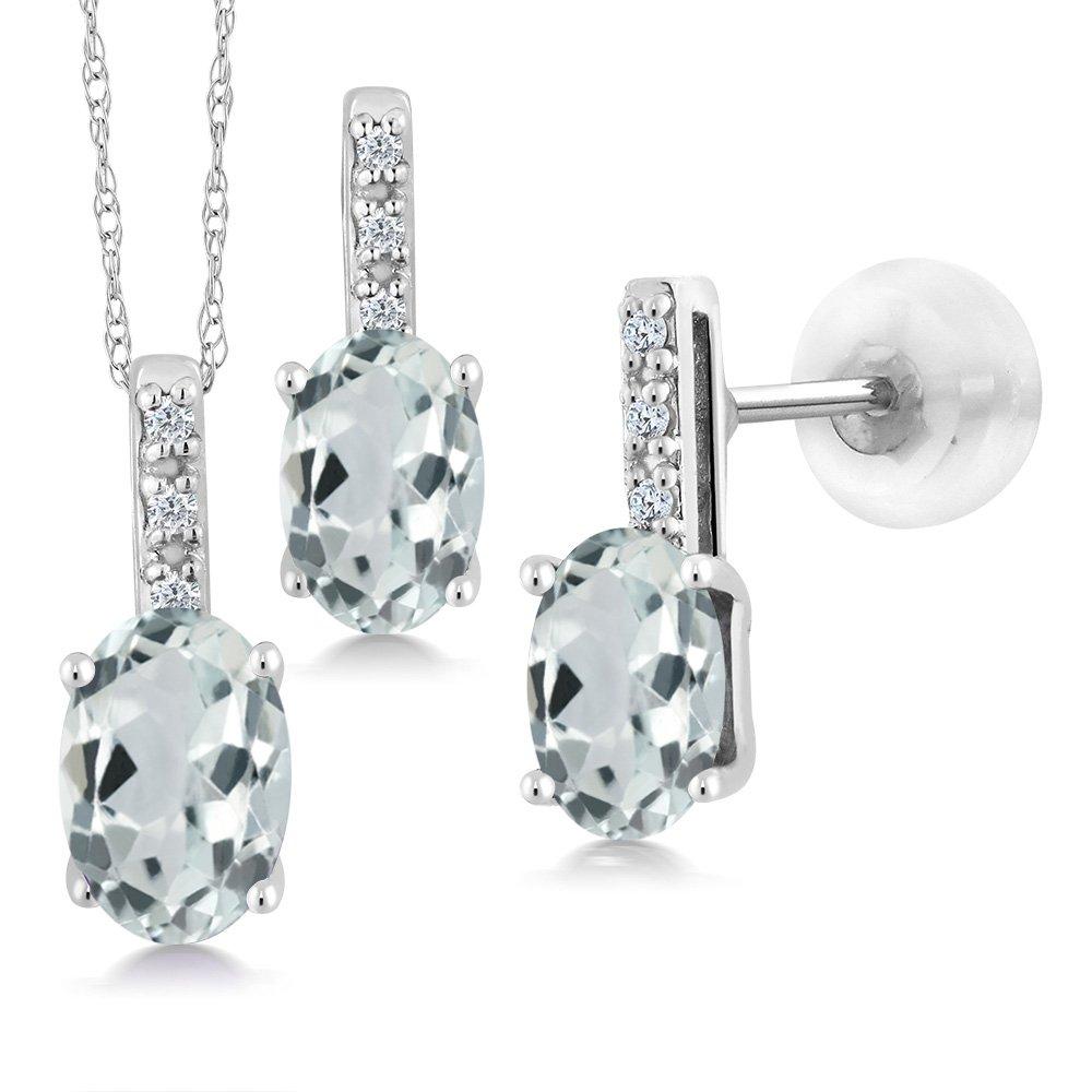 1.65 Ct Oval Sky Blue Aquamarine and Diamond 14K White Gold Pendant Earrings Set