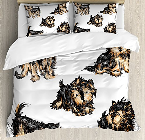Ambesonne Yorkie Duvet Cover Set, Hand Drawn Yorkies Realistic Yorkshire Terrier Images Dog Love Cartoon, Decorative 3 Piece Bedding Set with 2 Pillow Shams, Queen Size, Black Cream