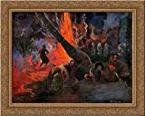 Fire Dance 24x20 Gold Ornate Wood Framed Canvas Art by Paul Gauguin
