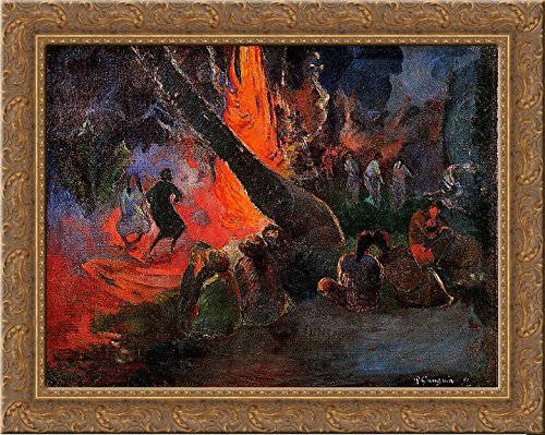 Fire Dance 24x20 Gold Ornate Wood Framed Canvas Art by Paul Gauguin by ArtDirect