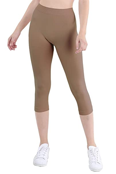 Nikibiki Womens Classic Capri Leggings for Soft Seamless Yoga Athleisure Everyday Pants - Made in USA
