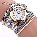 Binmer(TM) Duoya Brand Women Flower Popular Quartz Watch 2016 New Watches Luxury Bracelet Women Dress Lady Gift Flower Gemstone Wristwatch (gold)