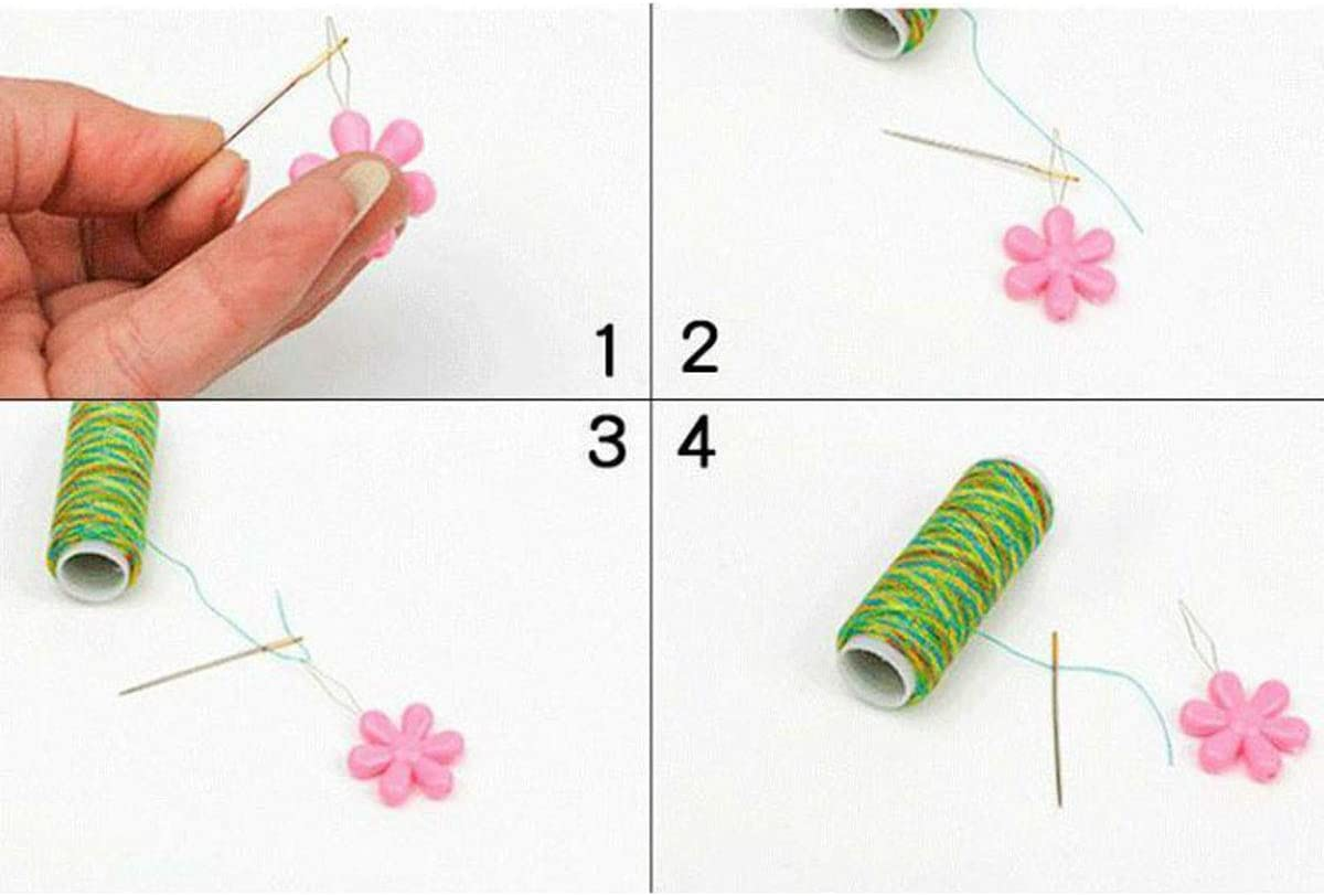 E-outstanding Bow Wire Needle Threader 10PCS Assorted Colors Plastic Plum Blossom Flower Head Wire Loop Needle Threaders for Hand Stitching and Sewing Machine Needle