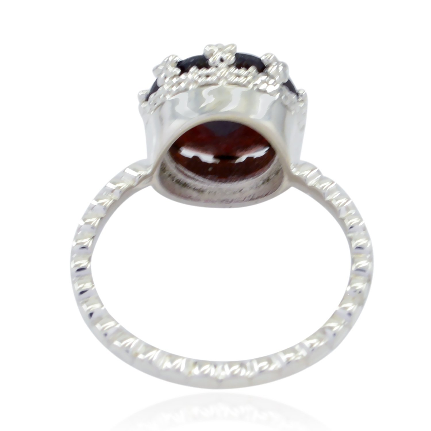 jents Jewelry Good Item Gift for Girlfriend Bohemian 925 Sterling Silver Red Garnet Lucky Gemstone Ring Lucky Gemstone Round Faceted Garnet Ring