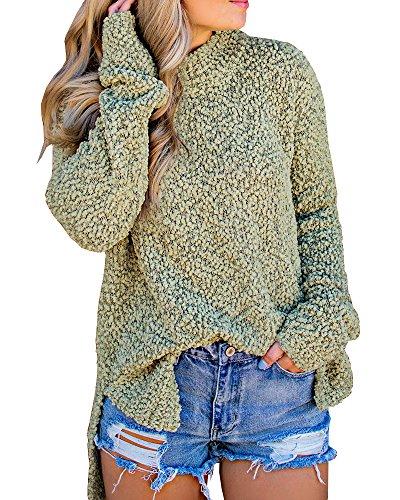 Seraih Womens Fuzzy Sherpa Fleece Long Sleeve Sweaters Loose Asymmetric Pullovers Coat Green - Green Sherpa
