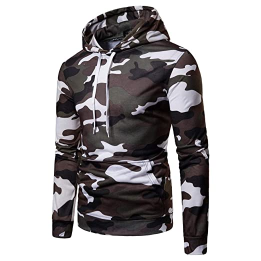 Hoodie Sweatshirts Full Zip,Mens Autumn Casual Camouflage Long Sleeve Pullover Sweatshirt Hoodie Coat Top