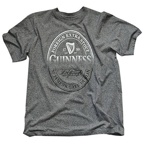 Guinness T-Shirt With Foreign Extra Stout Bottle Label Print, Grey Colour (Large) (Label Extra Stout)