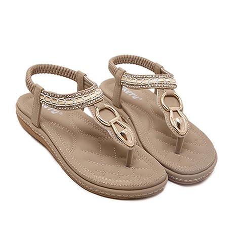 4a3e1faa30d2 SUKULIS Fashion Leather Women Sandals Bohemian Diamond Slippers Flats Flip  Flops Shoes Summer Beach Sandals Khaki