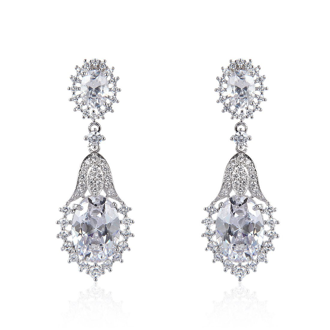 c9bbaa00d Amazon.com: Wordless Love Drop Earrings with Oval Shape AAA Cubic Zirconia  Wedding Pierced Earrings for Women: Jewelry
