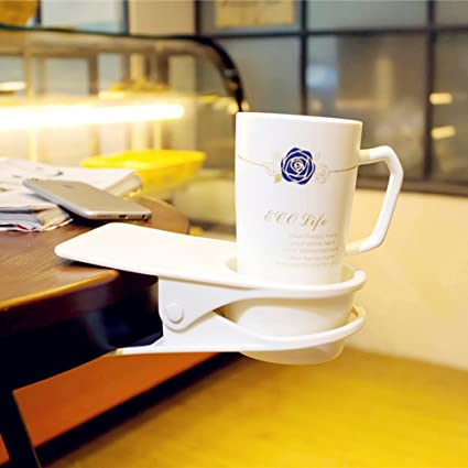 Tremendous Huge Desk Cup Holder For Home And Office Table Side Water Drink Beverage Soda Coffee Mug Holder Cup Saucer Clip White Download Free Architecture Designs Rallybritishbridgeorg