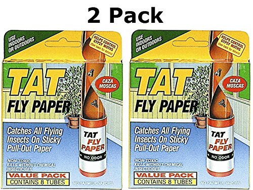 Tat Fly Paper Ribbon, Non-Toxic, Catches All Flying Insects - 8 pack(2pack)