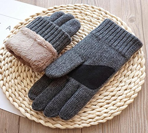 Jingzou Autumn and winter men double thickening knitting wool warm plus cashmere touch-screen gloves