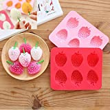 Cute Strawberry Ice Tray Silicone Mold Ice Cube Tray Ice Cream Chocolate Fondant Mold for Kids Summer Kitchen Accessory (Pack of 2)