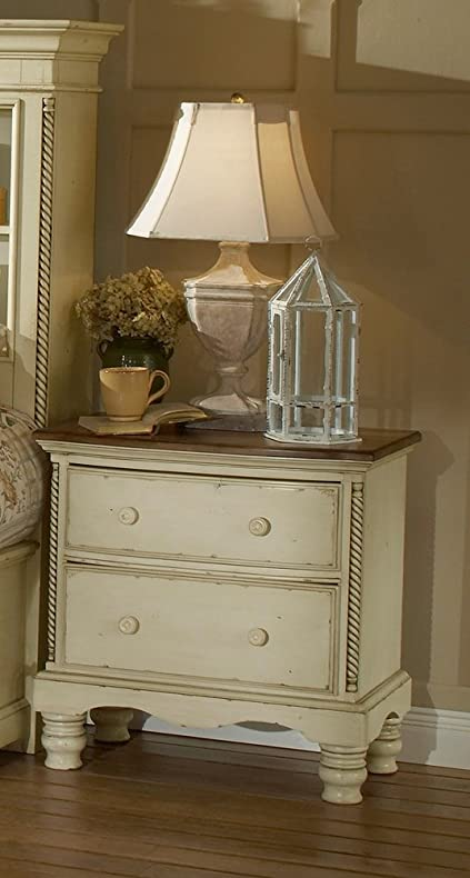 Two Drawer Nightstand With Antique White Finish And Rope Details
