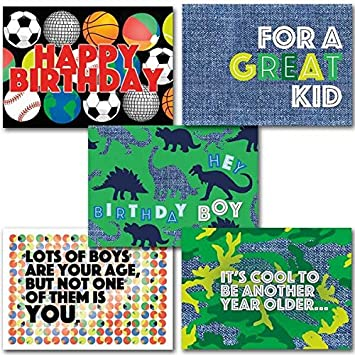 Happy Birthday For Boys Set Of 5 Deluxe Religious Greeting Cards