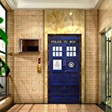 2016 NEW Anime Doctor Who Door Decal Vinyl Sticker Blue TARDIS  Fathead-Style Wall Decal