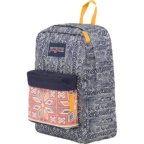 JanSport Superbreak Backpack Navy Moonshine Chevron Stripe