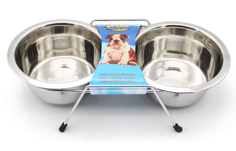BPS 2X Comedero Bebedero Acero Inoxidable para Perro Gato Mascotas con Soporte Base Doble S/M/L para Elegir (M: 850ml) BPS-11018