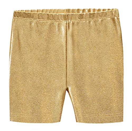 City Threads Girls Underwear Novelty Bike Shorts For Play School Uniform Dance Class and Under Dresses, Sparkly Gold, 16