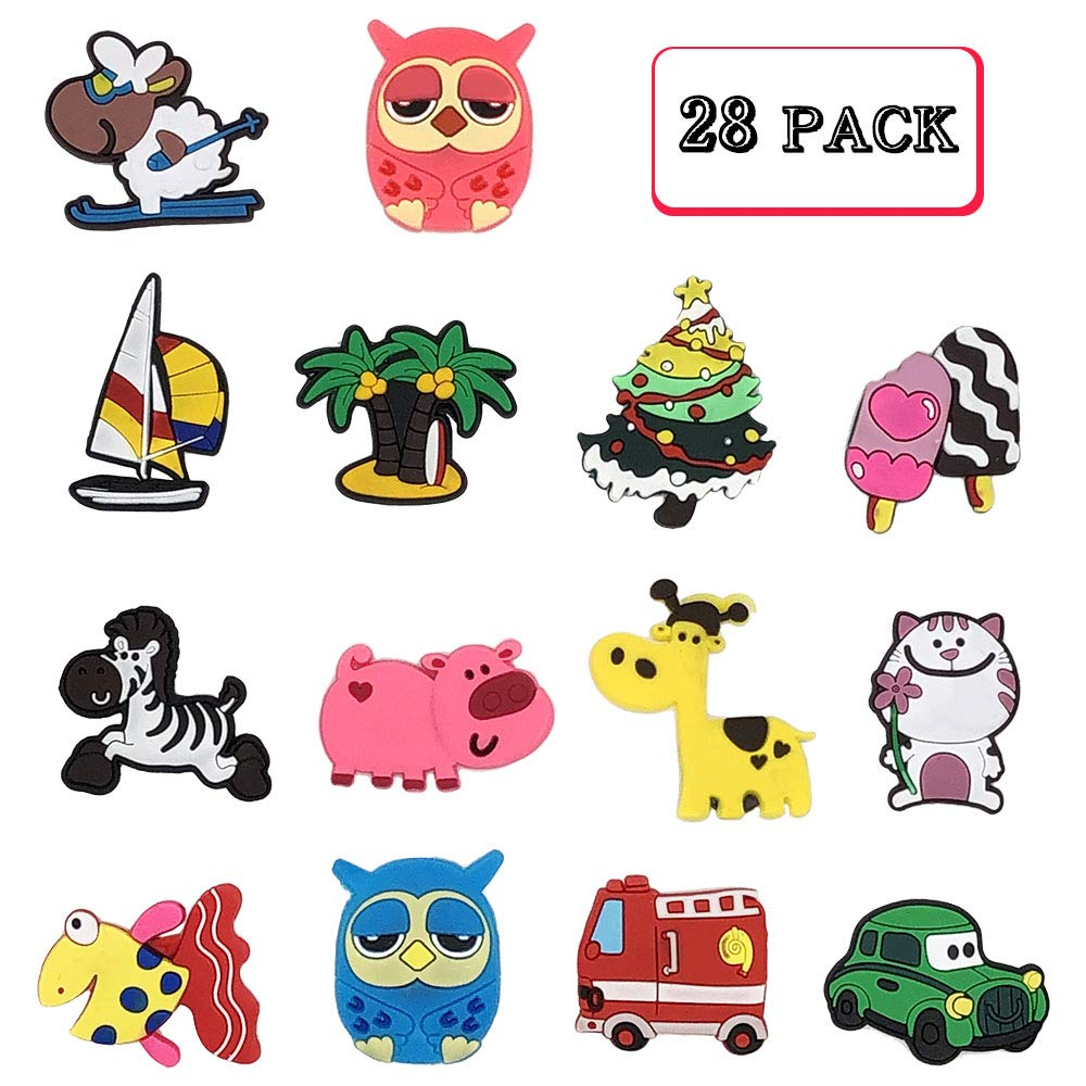 Fridge Magnets for Kids, 28 Pcs Catoon Animals Plant Car Magnet Set Refrigerator Magnets for Whiteboard Educational Home Classroom Kitchen and Office