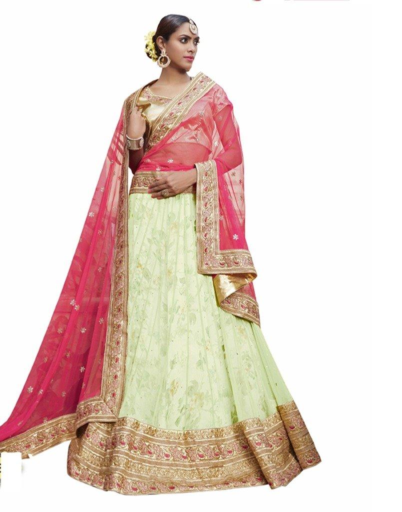 DesiButik's Wedding Wear Elegant Green Net Lehenga