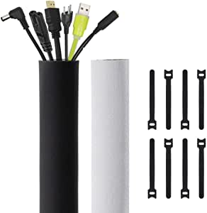 Kootek 118-Inch Cable Management Sleeves with Cable Ties, Neoprene Cable Organizer Cord Cover Wire Hider for TV Computer Office Theater (Black&White, Large)