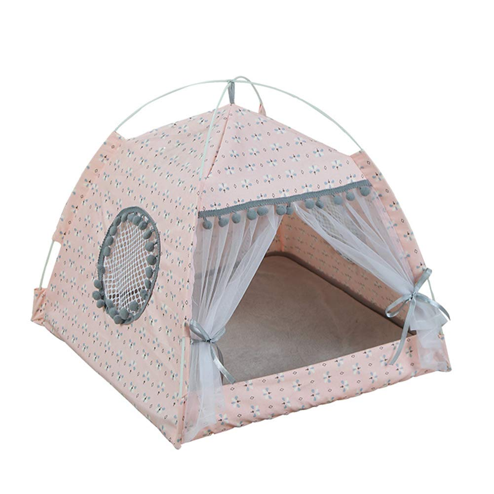 L Tent-Type Pet Nest, Cute Pink Removable and Breathable Pet Mat, Personalized Creativity to The Pet Full of Happiness,L