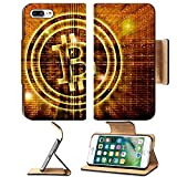 Luxlady Premium Apple iPhone 7 Plus Flip Pu Leather Wallet Case iPhone7 Plus 27545049 golden bitcoin symbol digital abstract background