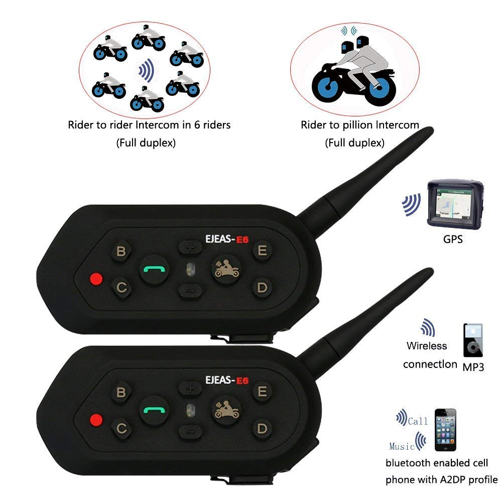 EJEAS Bluetooth for Motorcycle Helmet Headset Wireless Intercom Interphone E6 Walkie-Talkie Communication System with Speakers headphones for Motorbike Skiing for Rider 2pcs