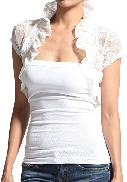 f973a85c3e9 Sale Junior Plus Size Smocked Short Cap Sleeve All Lace Cropped Shrug Bolero  at Amazon Women s Clothing store