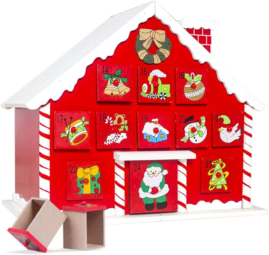Calendario de Adviento Madera para Rellenar con 24 Cajoncitos para Navidad Decoraci/ón Casa Mouttop Calendario de Adviento